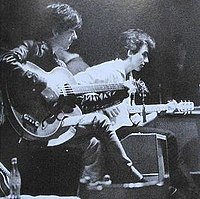 Harrison (right) with Stuart Sutcliffe during the Beatles' period in Hamburg