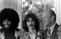 Billy Preston, Harrison, US president Gerald Ford and Shankar during a visit to the White House on the 1974 Dark Horse Tour