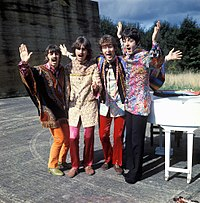 The Beatles in a scene from their 1967 television film Magical Mystery Tour