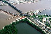 Lock and Dam No. 15, is the largest roller dam in the world Davenport, Iowa; Rock Island, Illinois. (1990)