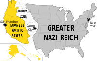 USA divided in three parts: The Japanese Pacific States in the west, Das Große Nazi Reich (The Great Nazi Empire) in the east and The Rocky Mountain States (or The Neutral Zone) in the middle
