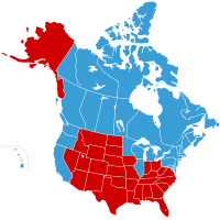 Map of the United States of Canada (in blue) and Jesusland (in red)