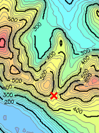 A mountain pass as it appears on a contour map: Bwlch Maesgwm in Snowdonia, north Wales, United Kingdom.