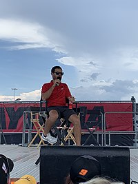 Larson during the Fanzone at the Daytona International Speedway on July 5, 2019