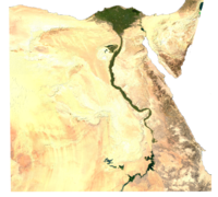 Green irrigated land along the Nile amidst the desert and in the delta