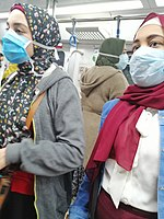 Women in Cairo wear face masks during the COVID-19 pandemic in Egypt in March 2020