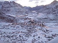 Saint Catherine in southern Sinai, on a snowy winter morning.
