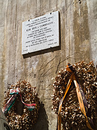 Plaque in Rome (Italy) in memory of Romani people who died in extermination camps