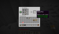 The crafting menu in Minecraft, showing the crafting pattern of a stone axe as well as some other blocks and items in the player's inventory.