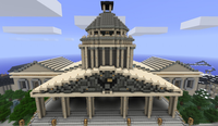 An example of a creation constructed in Minecraft