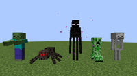 A few of the monsters in Minecraft, displayed from left to right: the zombie, spider, enderman, creeper, and skeleton.