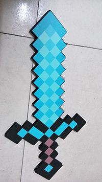 A physical prop of a diamond sword, a weapon from the game