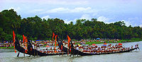 The annual snake boat race is performed during Onam on the Pamba River