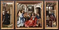 Robert Campin, Triptych with the Annunciation, known as the Mérode Altarpiece, c. 1425–1428