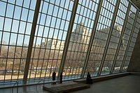 Northern view of Central Park through the glass wall of the Temple of Dendur room