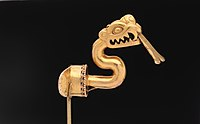 Serpent labret with articulated tongue, c. 1300–1521, Aztec