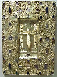 Book Cover with Byzantine Icon of the Crucifixion, before 1085