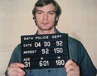 Jeffrey Dahmer's April 1992 mug shot, taken after his extradition to Ohio to be charged with the murder of Steven Hicks