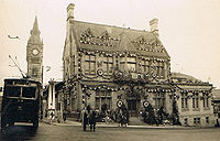 Darlington Town Hall decorated for the coronation, 1937