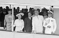 Franklin and Eleanor Roosevelt with King George VI and Queen Elizabeth, on the USS Potomac, 9 June 1939
