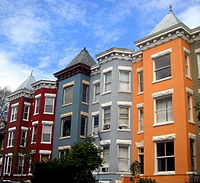 Ornate roof lines of Queen Anne Style row houses in Mount Pleasant – 2008