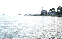 Morgan Point Light is located in Noank in southeastern Groton.