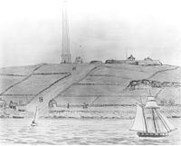 Groton Monument and Fort Griswold, a sketch by John Warner Barber for his Historical Collections of Connecticut (1836)