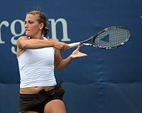 Tímea Babos in action during the 2009 US Open girls' junior event