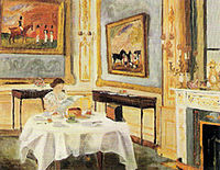 "Her Majesty the Queen at Breakfast painted by her husband in 1957. Biographer Robert Lacey described the painting as ""a tender portrayal, impressionistic in style, with brushstrokes that are charmingly soft and fuzzy""."