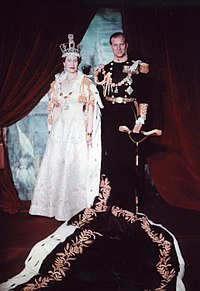 Coronation portrait of Elizabeth II with the Duke of Edinburgh, June 1953