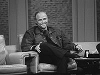 Brando as a guest at The Dick Cavett Show in 1973, following the success of The Godfather.