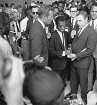 With Charlton Heston, James Baldwin, Sidney Poitier and Harry Belafonte at the March on Washington in 1963