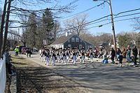 St. Patrick's Day Parade in Scituate, Massachusetts, in Plymouth County, the municipality with the highest percentage identifying Irish ancestry in the United States, at 47.5% in 2010. Irish Americans constitute the largest ethnicity in Greater Boston.