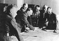 Hitler with generals Friedrich Paulus, Adolf Heusinger and Fedor von Bock in Poltawa, German-occupied Ukraine, June 1942