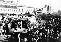 The Red Army is greeted in Bucharest, August 1944.