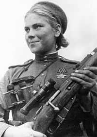 Soviet sniper Roza Shanina in 1944. About 800,000 women served in the Soviet Armed Forces during the war.