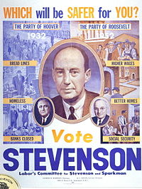 Adlai Stevenson warns against a return of the Republican policies of Herbert Hoover, 1952 campaign poster