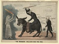 1837 cartoon shows the Democratic Party as donkey