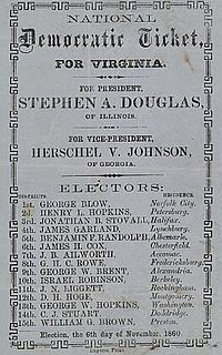 To vote for Stephen A. Douglas in Virginia, a man deposited the ticket issued by the party in the official ballot box