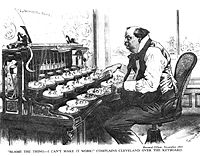 """Typewriters were new in 1893 and this Gillam cartoon from Puck shows that Grover Cleveland can not get the Democratic """"machine"""" to work as the keys (key politicians) will not respond to his efforts"""