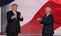 Candidate Trump and running mate Mike Pence at the Republican National Convention, July 2016