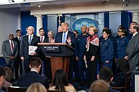 Trump conducts a COVID-19 press briefing with members of the White House Coronavirus Task Force on March 15, 2020.
