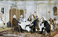 A painting of the influential modern philosopher Immanuel Kant (in the blue coat) with his friends. Other figures include Christian Jakob Kraus, Johann Georg Hamann, Theodor Gottlieb von Hippel and Karl Gottfried Hagen