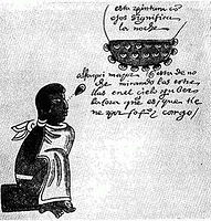 A Tlamatini (Aztec philosopher) observing the stars, from the Codex Mendoza.