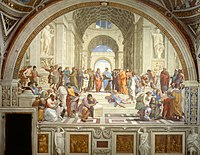 The School of Athens (1509–1511) by Raphael, depicting famous classical Greek philosophers in an idealized setting inspired by ancient Greek architecture