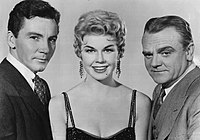 Cameron Mitchell, Doris Day, and James Cagney in a publicity still for Love Me or Leave Me (1955)