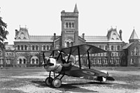 A Sopwith Camel aircraft rests on the Front Campus lawn in 1918.
