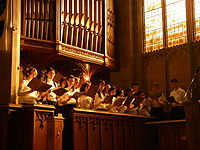Sunlight fills Knox College Chapel during a Christmas concert of the engineering faculty's Skule Choir.