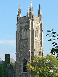 Soldiers' Tower, a memorial to alumni fallen in the World Wars, contains a 51-bell carillon.