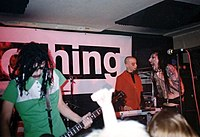 """Left to right: Twiggy, Gacy and Manson performing at the """"A Night of Nothing"""" industry showcase, 1995"""
